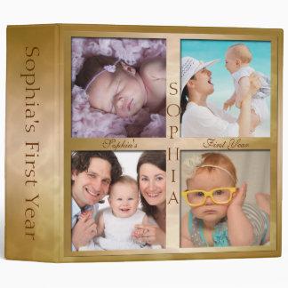Baby's First Year Memories Binder in Gold
