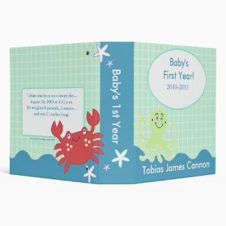 Baby's First Year Photo Album Under the Sea theme 3 Ring Binder