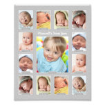 Baby&#39;s First Year Photo Keepsake Collage Print<br><div class='desc'>Showcase your baby&#39;s first year with a modern photo collage that requires no printing and cutting of individual photos!  Simply upload your baby&#39;s digital images from newborn to 12 twelve months / one year and personalize the title with your baby&#39;s name.  Color: Light Gray</div>