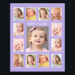 "Baby&#39;s First Year Photo Keepsake Collage Print<br><div class=""desc"">Showcase your baby&#39;s first year with a modern photo collage that requires no printing and cutting of individual photos!  Simply upload your baby&#39;s digital images from newborn to 12 twelve months / one year and personalize the title with your baby&#39;s name.  Color: Lavender Purple</div>"