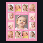 "Baby&#39;s First Year Photo Keepsake Collage Print<br><div class=""desc"">Showcase your baby&#39;s first year with a modern photo collage that requires no printing and cutting of individual photos!  Simply upload your baby&#39;s digital images from newborn to 12 twelve months / one year and personalize the title with your baby&#39;s name.  Color: Pink</div>"