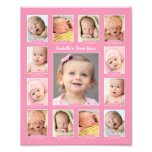 Baby&#39;s First Year Photo Keepsake Collage Print<br><div class='desc'>Showcase your baby&#39;s first year with a modern photo collage that requires no printing and cutting of individual photos!  Simply upload your baby&#39;s digital images from newborn to 12 twelve months / one year and personalize the title with your baby&#39;s name.  Color: Pink</div>