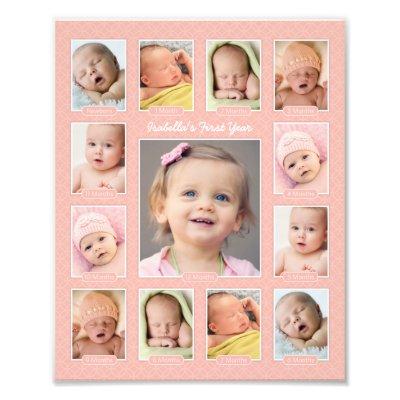 Baby's First Year Photo Keepsake Collage Print | Zazzle