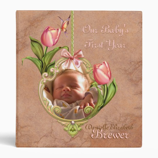 Babys First Year Scrapbook Cover (Revised) 3 Ring Binder