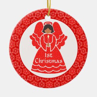 Baby's Girl's 1st Christmas Ethnic Angel Ceramic Ornament