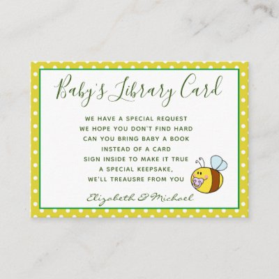 Babys Library Book Request Card BEE Buzzing Ba-Bee