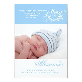 Baby's Monogram - Photo Birth Announcement