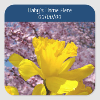 Baby's Name stickers Birth Date Daffodil Flowers