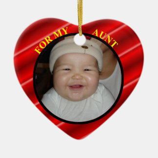 Baby's Red Heart Photo Gift Tag For Aunt Ceramic Ornament
