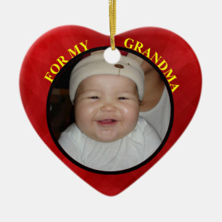 Baby's Red Heart Photo Gift Tag For Grandmother Ceramic Ornament
