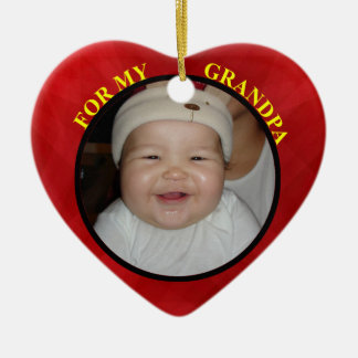 Baby's Red Heart Photo Gift Tag For Grandpa Ceramic Ornament