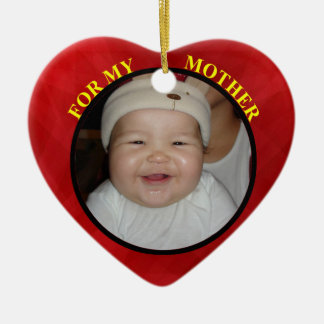 Baby's Red Heart Photo Gift Tag & Ornament For Mom