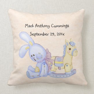 Baby's Rocking Horse & Bunny American MoJo Pillow
