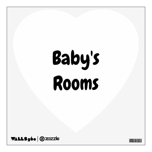 Babys Room Add Text or Photo Heart Add Your Own Wall Decal