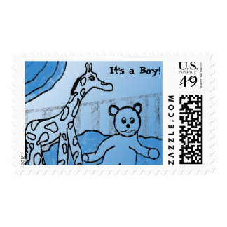 Baby's Room Blue IT'S A BOY Postage Stamps