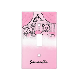 Baby's Room Pink Personalized Light Switch Cover