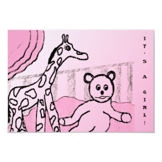 Baby's Room Pink Photo Birth Announcements
