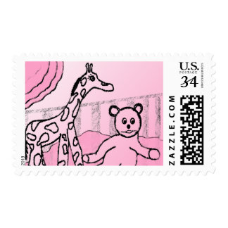 Baby's Room Pink Postage Stamps (Post Card)