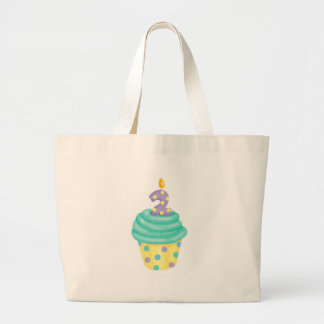 Baby's second birthday - cupcake large tote bag