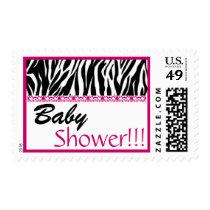 BabyShower Trendy Black White Pink Zebra Print Postage