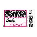 BabyShower Trendy Black White Pink Zebra Print Postage Stamps
