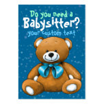 Babysitter Babysitting DayCare ChildCare Blue Large Business Cards (Pack Of 100)