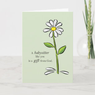 Babysitter Birthday Religious Green Daisy Flower Card