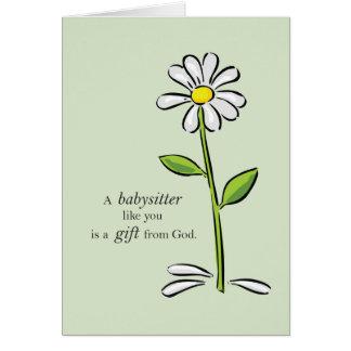 Babysitter Birthday, Religious Green Daisy Flower Card