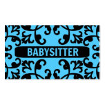 Babysitter Blue Damask Business Card