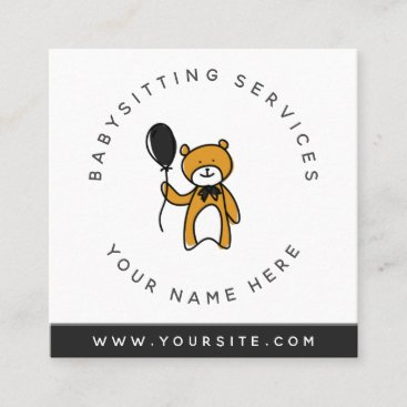 Babysitter Brown Teddy Bear Toy Daycare Kids Fun Square Business Card