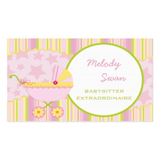 BabySitter Business Card Pink Carriage