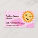 Babysitter business card, pink with cute sun business card