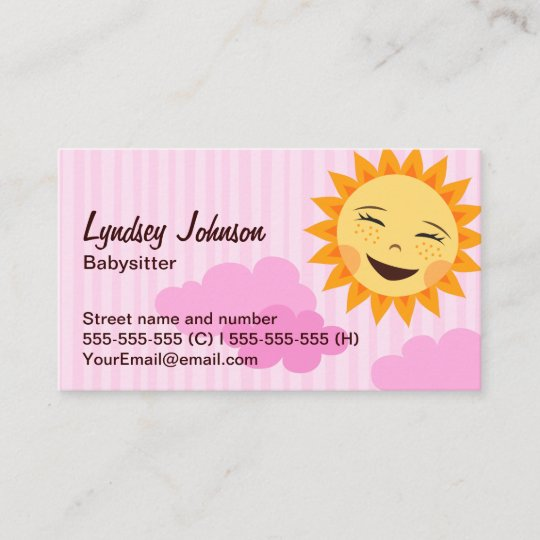 Babysitter Business Card Pink With Cute Sun Business Card Zazzle
