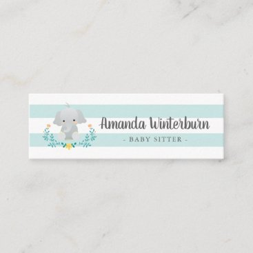 Babysitter business card with Elephant