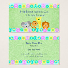 Babysitter business cards templates zazzle babysitter business cards reheart Gallery