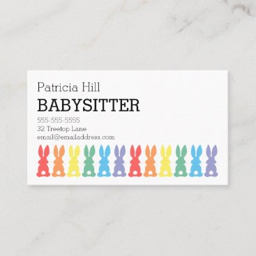 Babysitter Childcare Rainbow Bunny Silhouette Cute Business Card