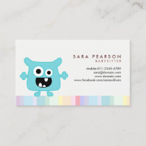 Babysitter Cute Cyan Monster Alien Business Card
