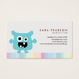 Babysitter Cute Cyan Monster Alien Business Card