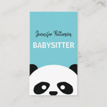 Babysitter Cute Panda Childcare Babysitting Business Card