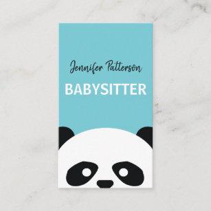 babysitter cute panda childcare babysitting business card - Babysitting Business Cards