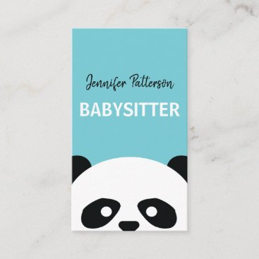 Babysitter Cute Panda Childcare Babysitting Business Card