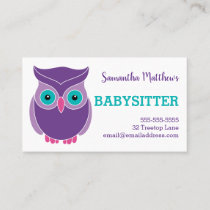 Babysitter Cute Purple Owl Childcare Provider Business Card