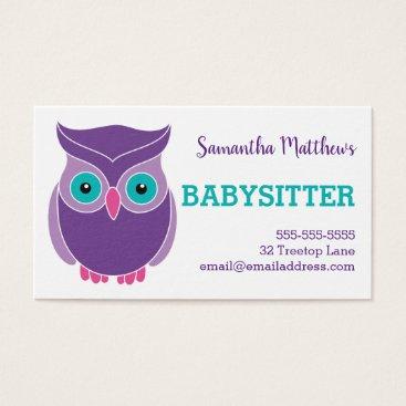 Babysitter Cute Purple Owl Childcare Provider Business Card
