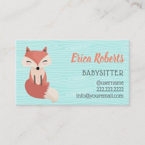Babysitter Cute Woodland Fox Babysitting Childcare Business Card