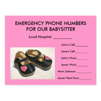BABYSITTER EMERGENCY NUMBERS: Baby Shoes: Pink Postcard