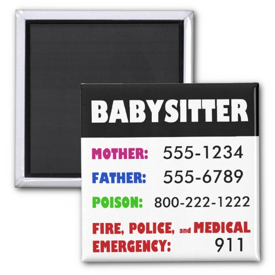 babysitter emergency phone numbers magnet zazzle com