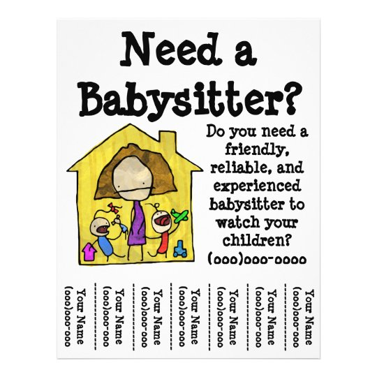 Babysitter Flyer  Zazzle