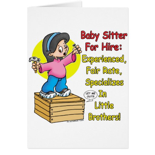 Babysitter for Hire! Card