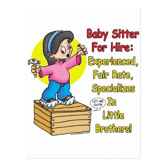 Babysitter for Hire! Postcard