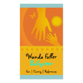 Babysitter Hands Yellow Orange Double-Sided Standard Business Cards (Pack Of 100)